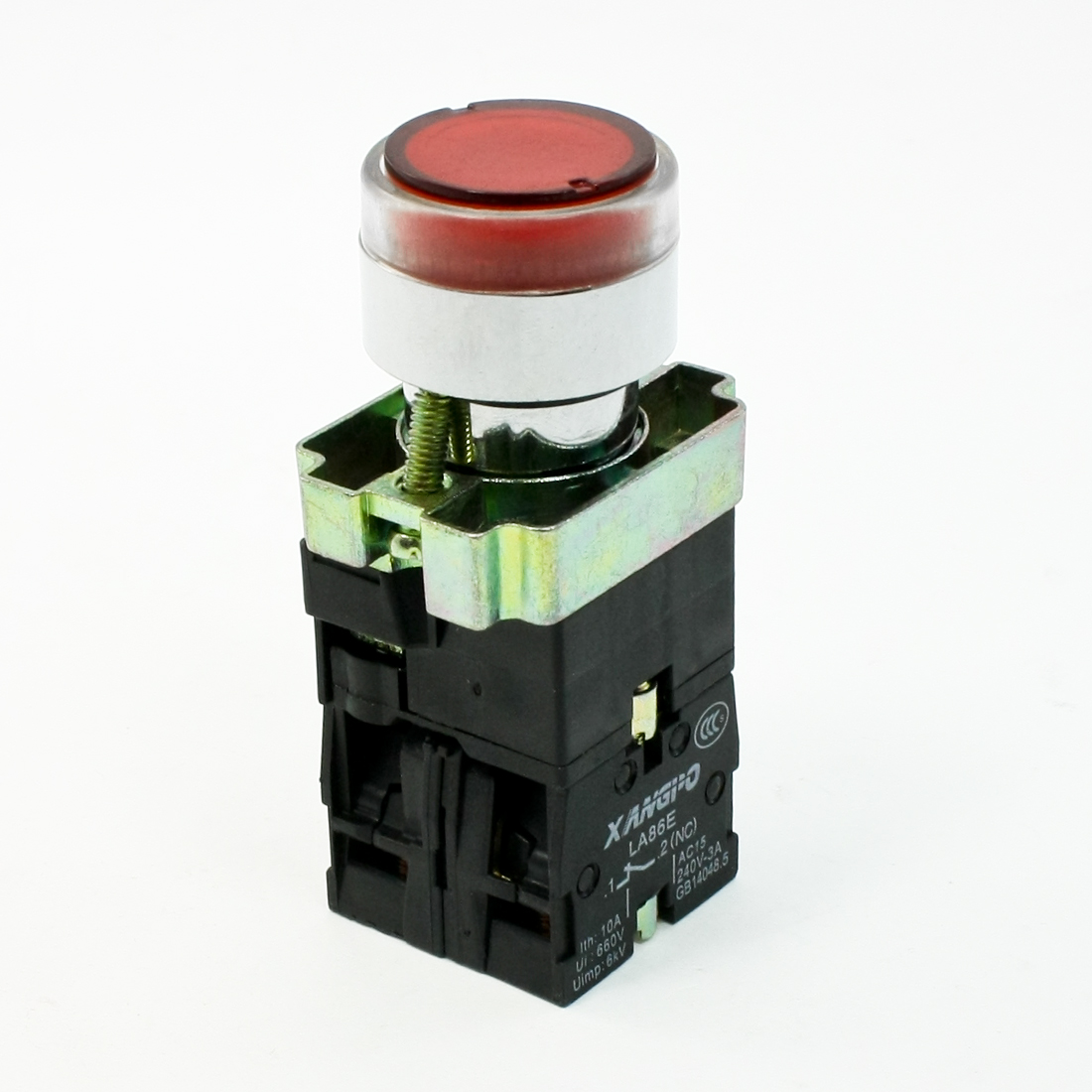 AC220V Indicator Lamp AC240V 3A 1NO 1NC Red Momentary Push Button Switch