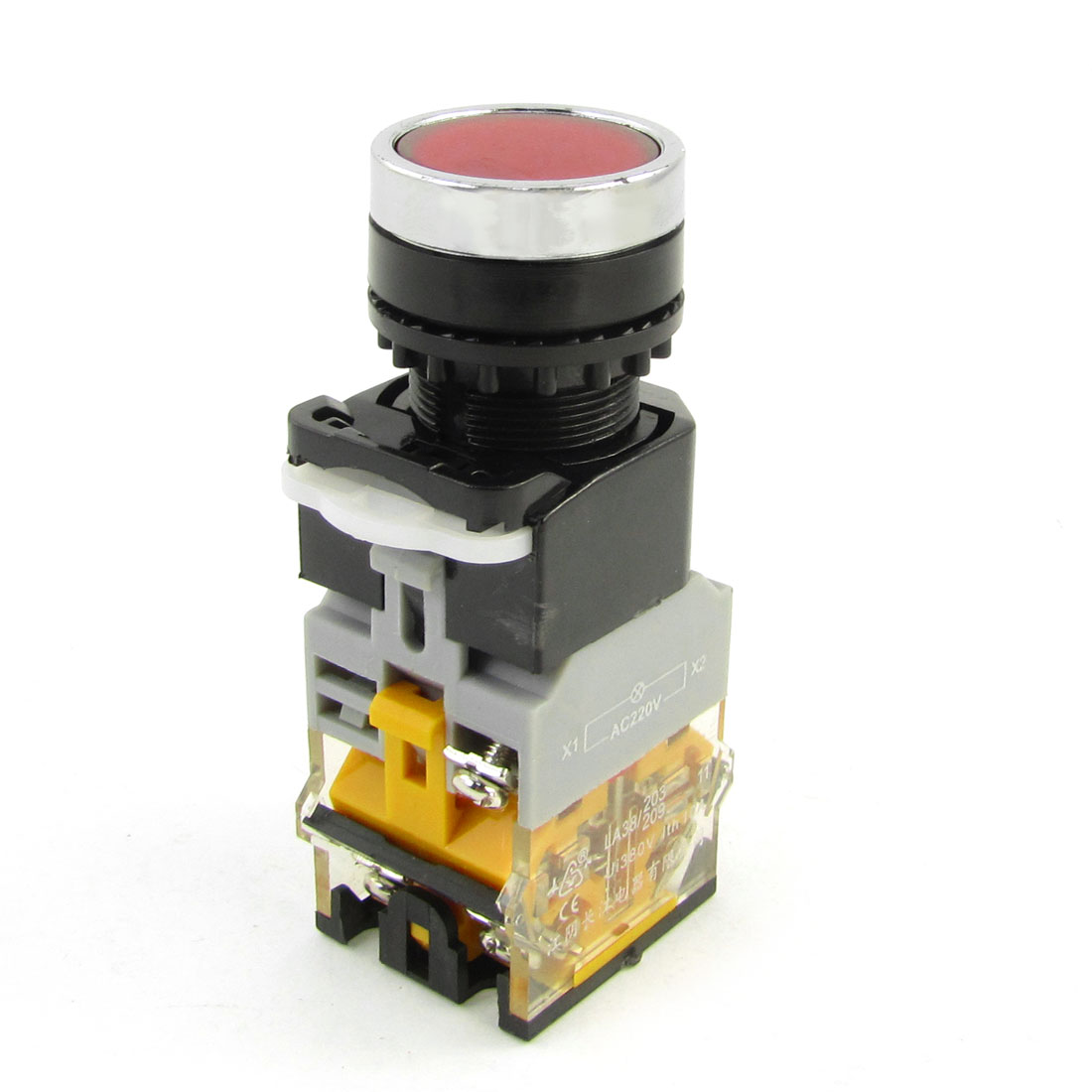 AC 380V 10A 6 Terminals Red Momentary Push Button Switch w 220VAC LED Lamp
