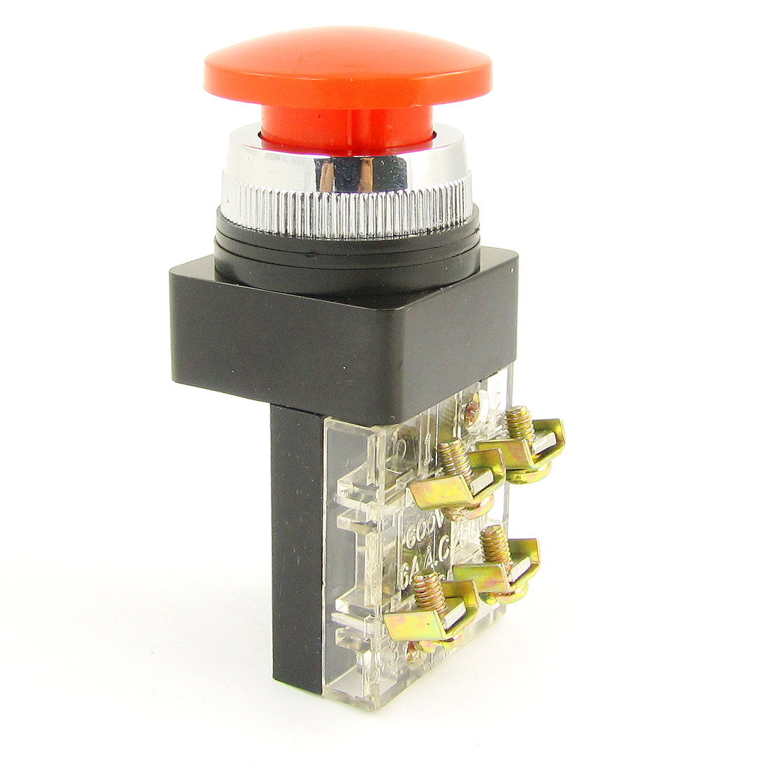 Red Mushroom Head Momentary Actuator SPST Push Button Switch 250V AC 6Amp