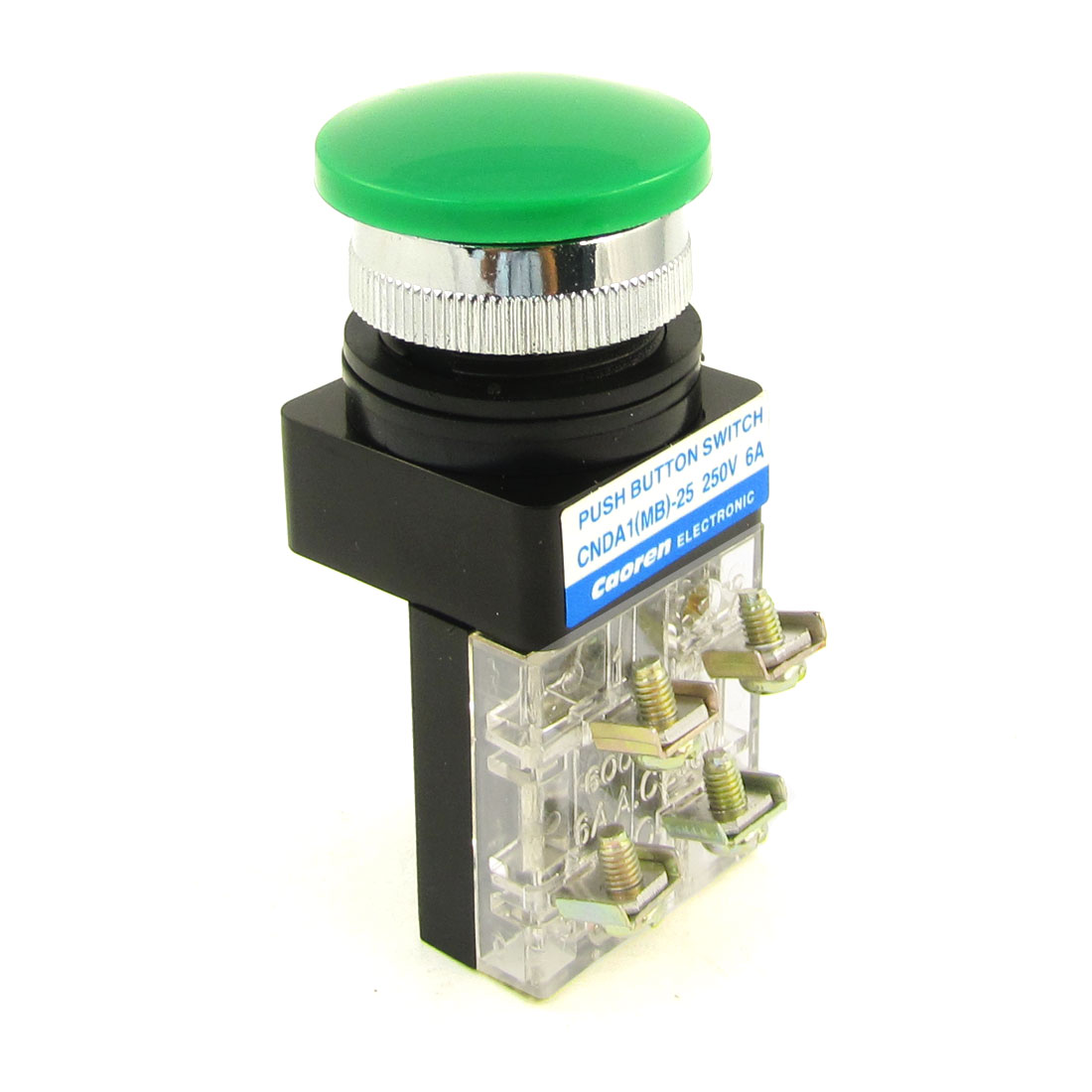 AC 250V 6A SPDT Panel Mounted Momentary Green Mushroom Push Button Switch