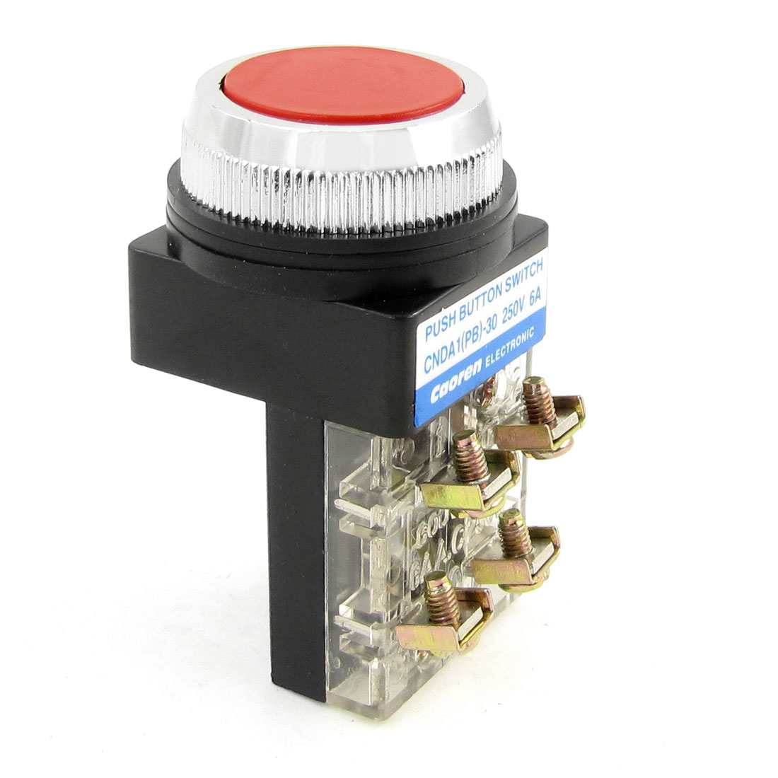 Panel Mounted Momentary Red Flat Pushbutton Switch DPST 250VAC 6A DPST