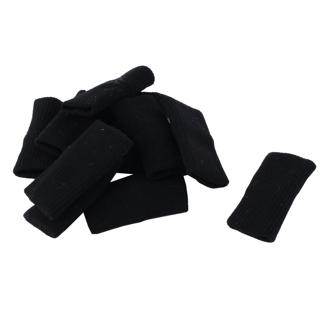 10 Pcs Black Outdoor Sports Volleyball Basketball Elastic Nylon Finger Sleeve Cover