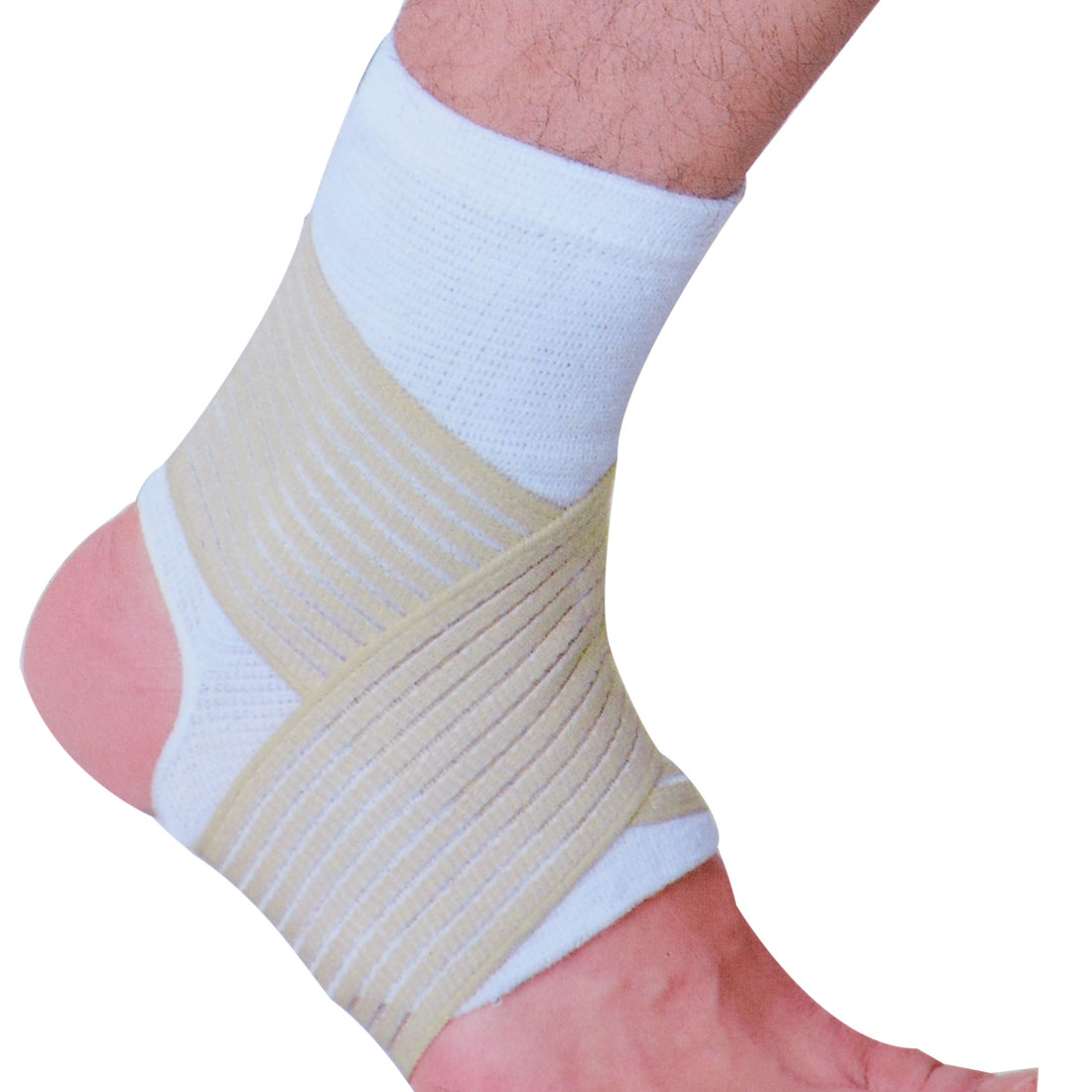 Men Gym Exercise Open Heel Elastic Ankle Brace Support White Beige