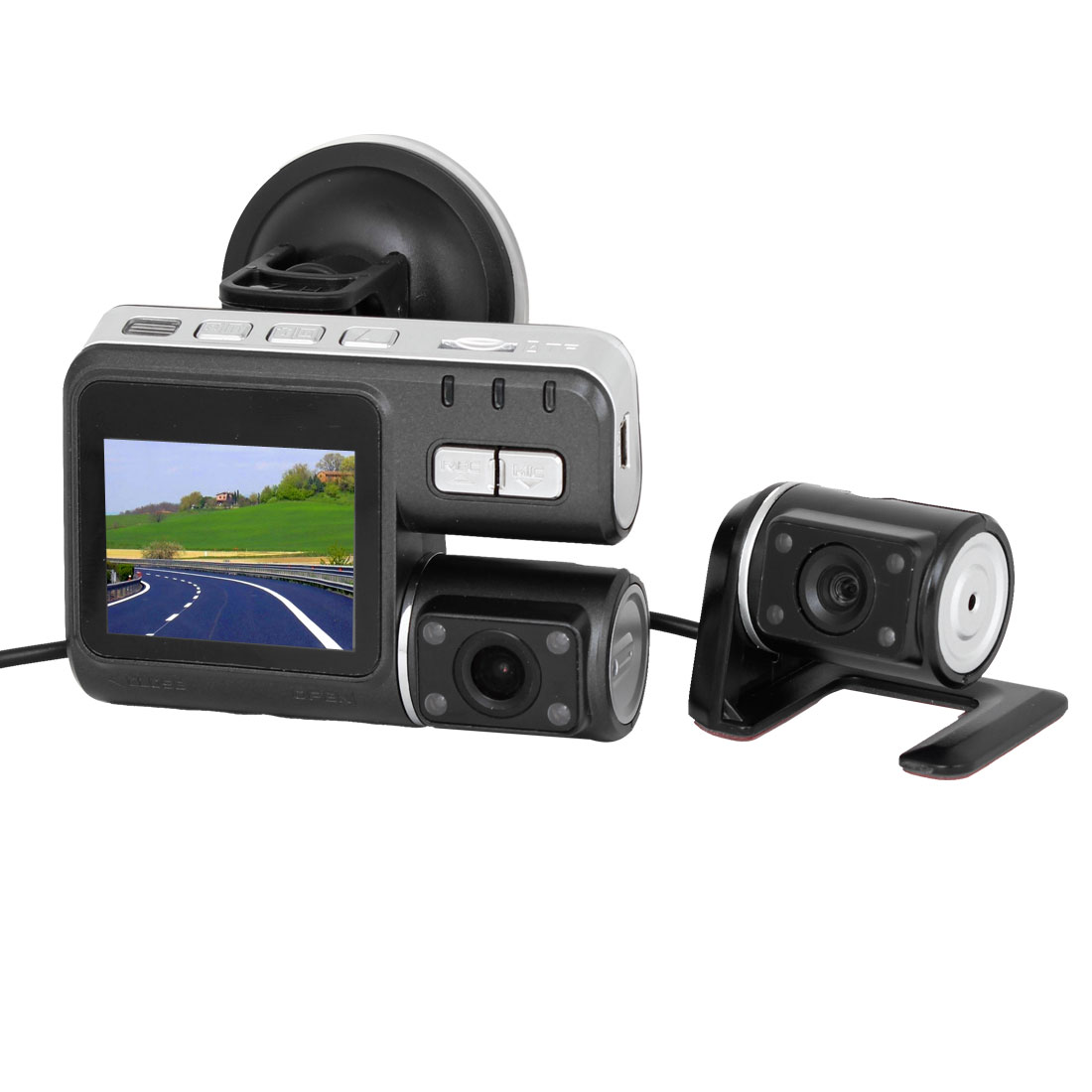 "HD 720P Vehicle DVR Camera 2"" LCD 120 Degree Angle Dual Camera Video Recorder"