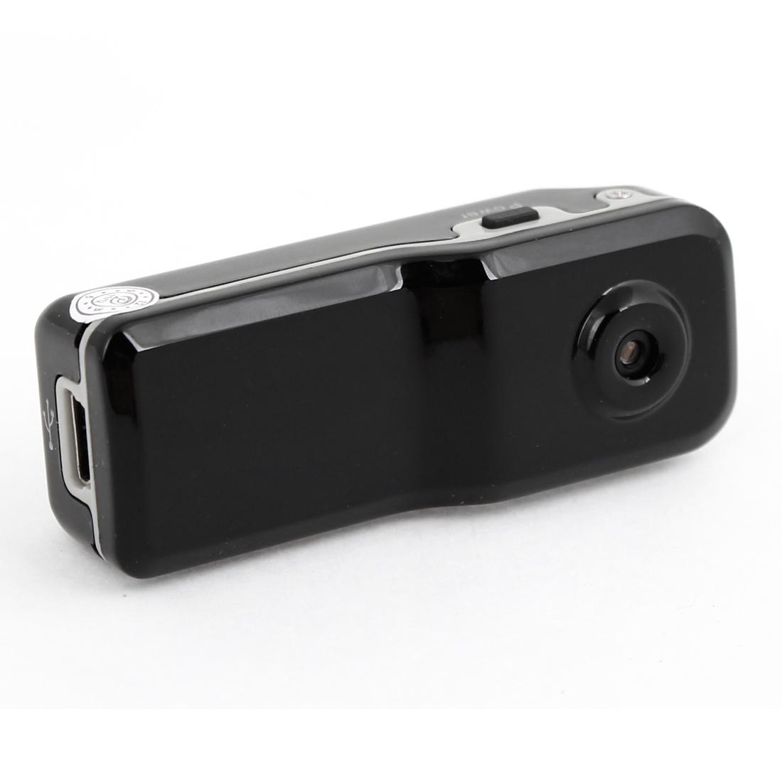 Black Plastic Casing 480P Mini Camera DV Recorder w Stand Strap