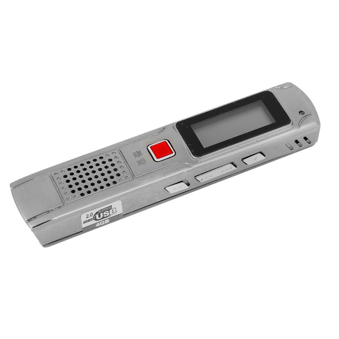 Silver Gray 4GB MP3 Digital Repeat Voice Recorder Pen