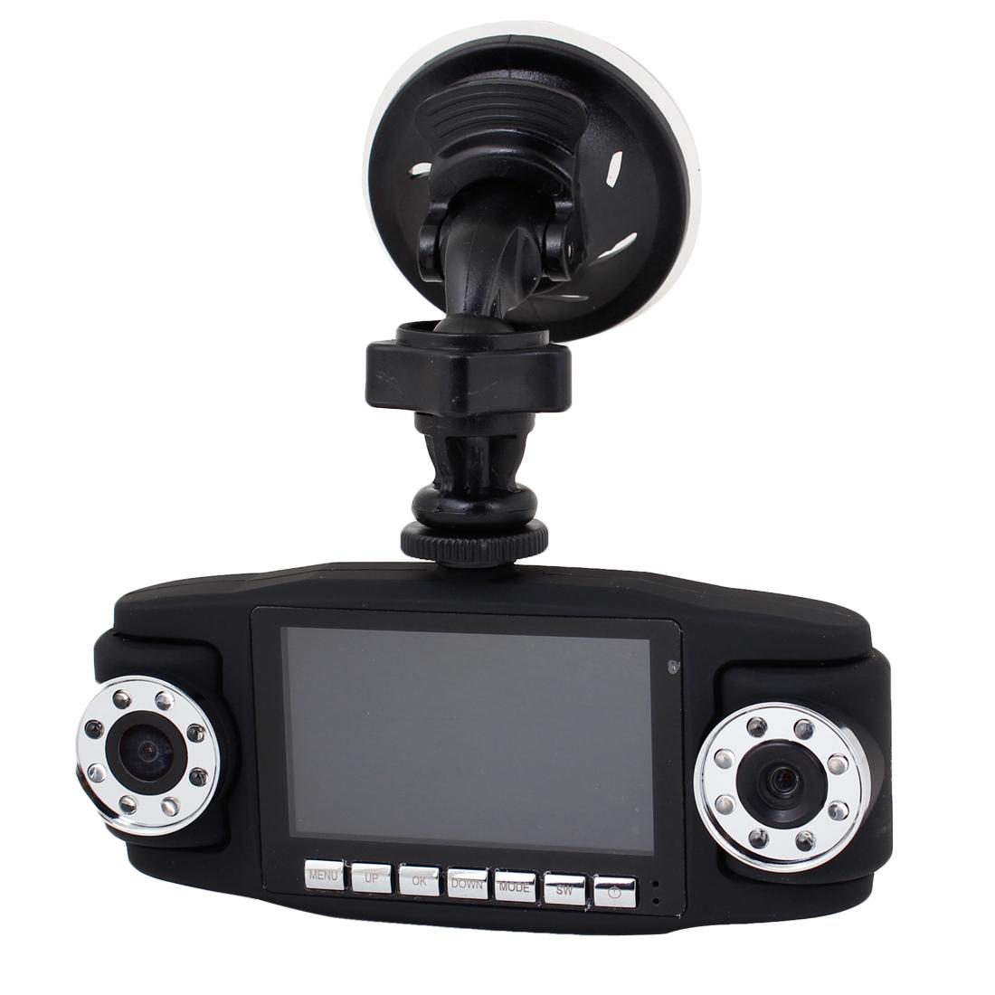"180 Degree Adjustable 2 Lens 2.7"" TFT Screen Vehicle Camera DVR Recorder 720P"