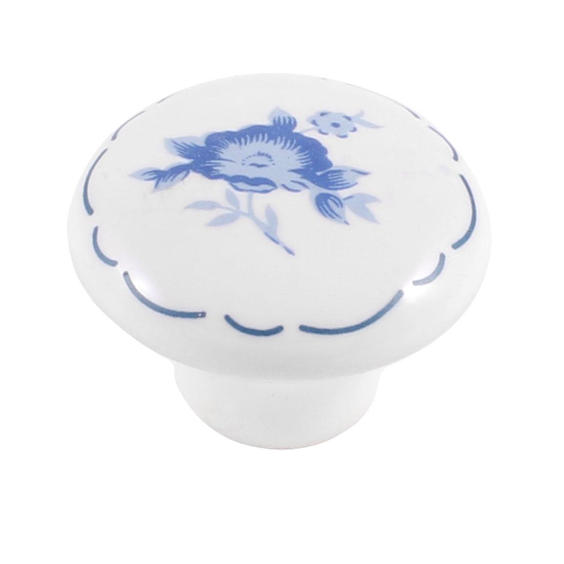 Hardware Part Steel Blue Floral Printed White Ceramic Rounded Door Drawer Knob