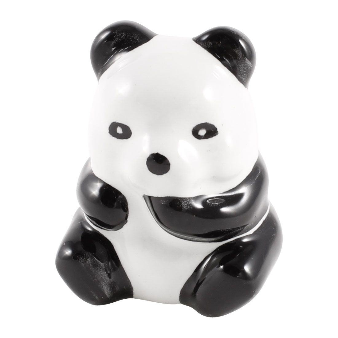 Home Black White Panda Designed Ceramic Drawer Knob Pull Handle Grip 4.2cm Long