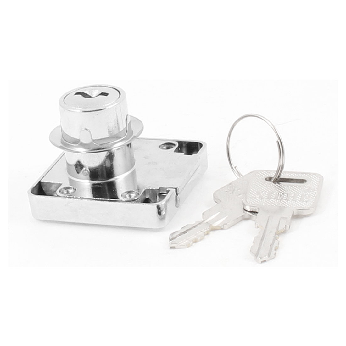 Home Office Silver Tone Metal 40mm x 39mm Cabinet Drawer Lock w 2 Keys