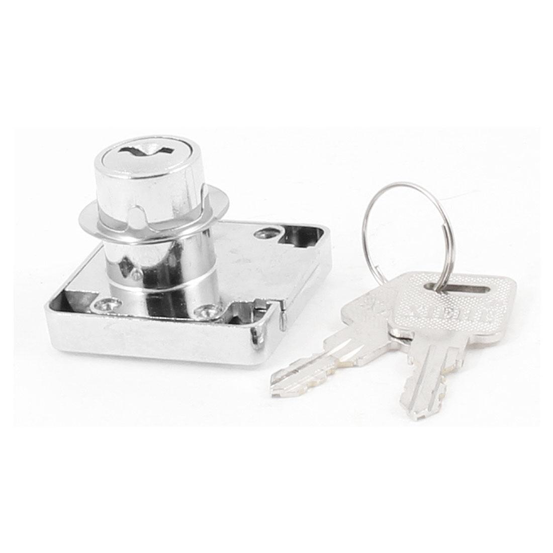 Home Office Silver Tone Metal 40mm x 39mm Cabinet Drawer Lock w 2 Keys