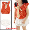 Kids Girls Round Neck Straped Dots Pattern Top w Stretchy Waist Skort US Size 5 Orange White