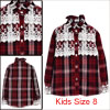 Kids Lace Splice Button Cuff Long Sleeve Plaids Pattern Shirt Burgundy US Size 8