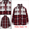 Kids Girls Single Breasted Plaids Pattern Lace Decor Detail Slim Fit Shirt Burgundy US Size 10
