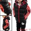 Girls Hooded Sleeveless Plaids Detail Autumn Vest Black 10