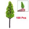 100 Pcs Light Green Plastic Pagoda Model Trees Layout Scene 4.5cm High 1:400