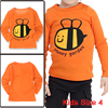 Child Long Sleeve Pullover Orange Bee Letters Printed T-Shirt US Size 4