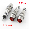 DC 24V Vehicle Aluminum Red LED Indicator Light Interior Lamp Bulb 3PCS
