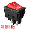AC 16A/250V 20A/125V Red Light Illuminated 4 Pins DPST On/Off Boat Rocker Switch