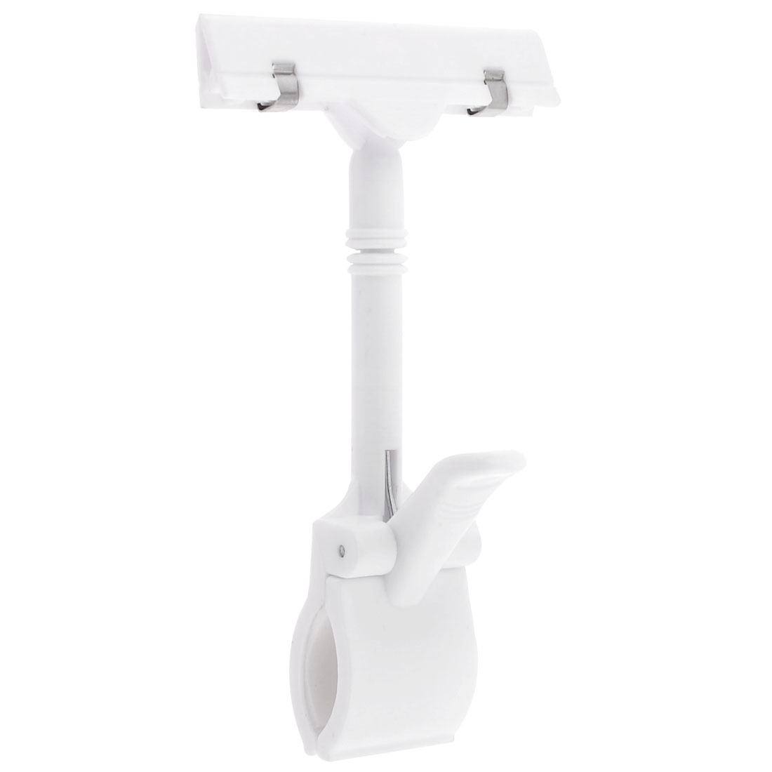 White Plastic Jointed Dual Clamps Pop Thumb Display Clip