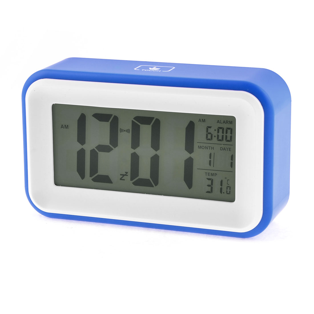 Rectangular Design Light Sensor Control Digital LCD White Blue Calendar Alarm Voice Sensor Clock