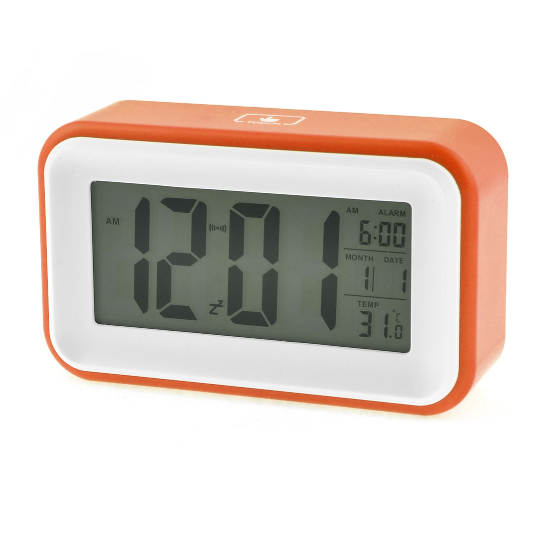 Light Sensor Control Digital LCD White Orange Calendar Alarm Voice Sensor Clock