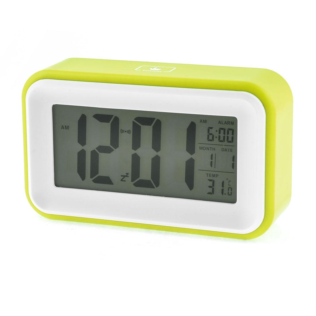Digital LCD Light Sensor Control Function White Olive Color Calendar Alarm Voice Sensor Clock
