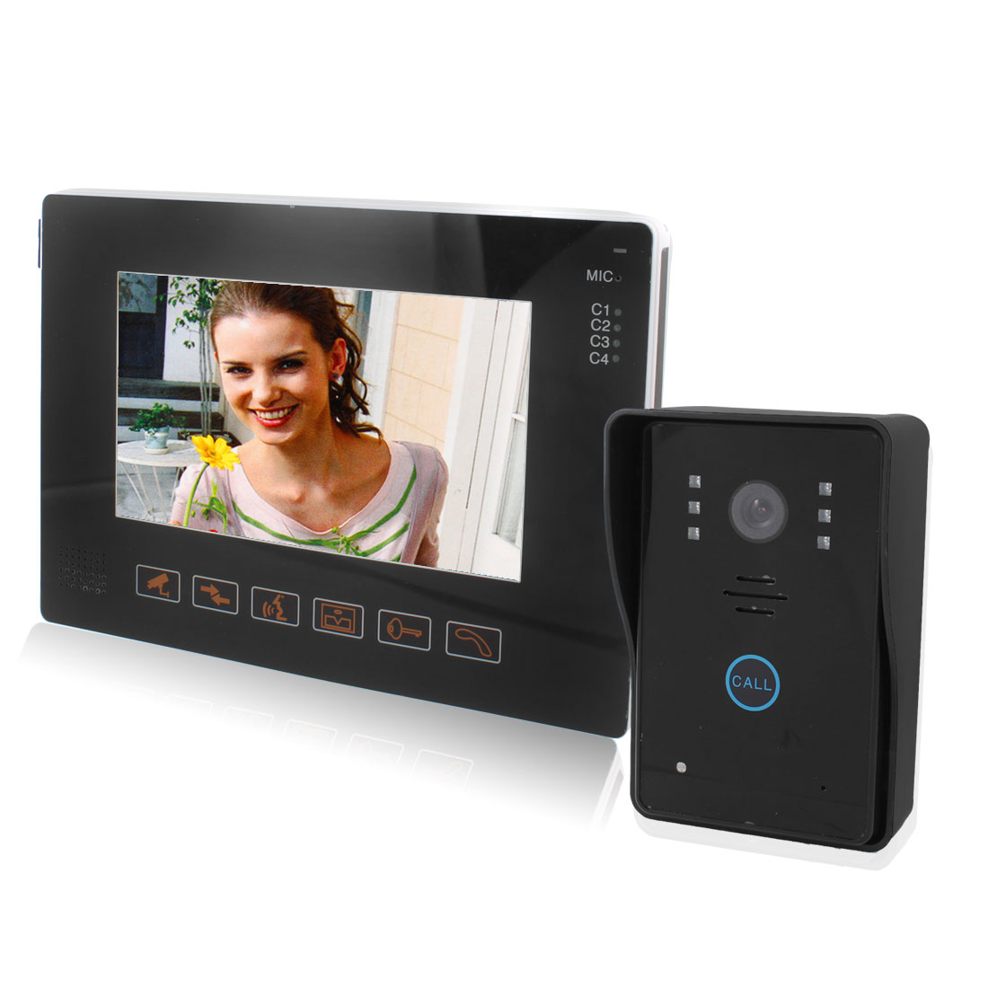 "US Plug 8"" Touch Screen Handsfree Camera Monitor Intercom Color Video Door Phone"
