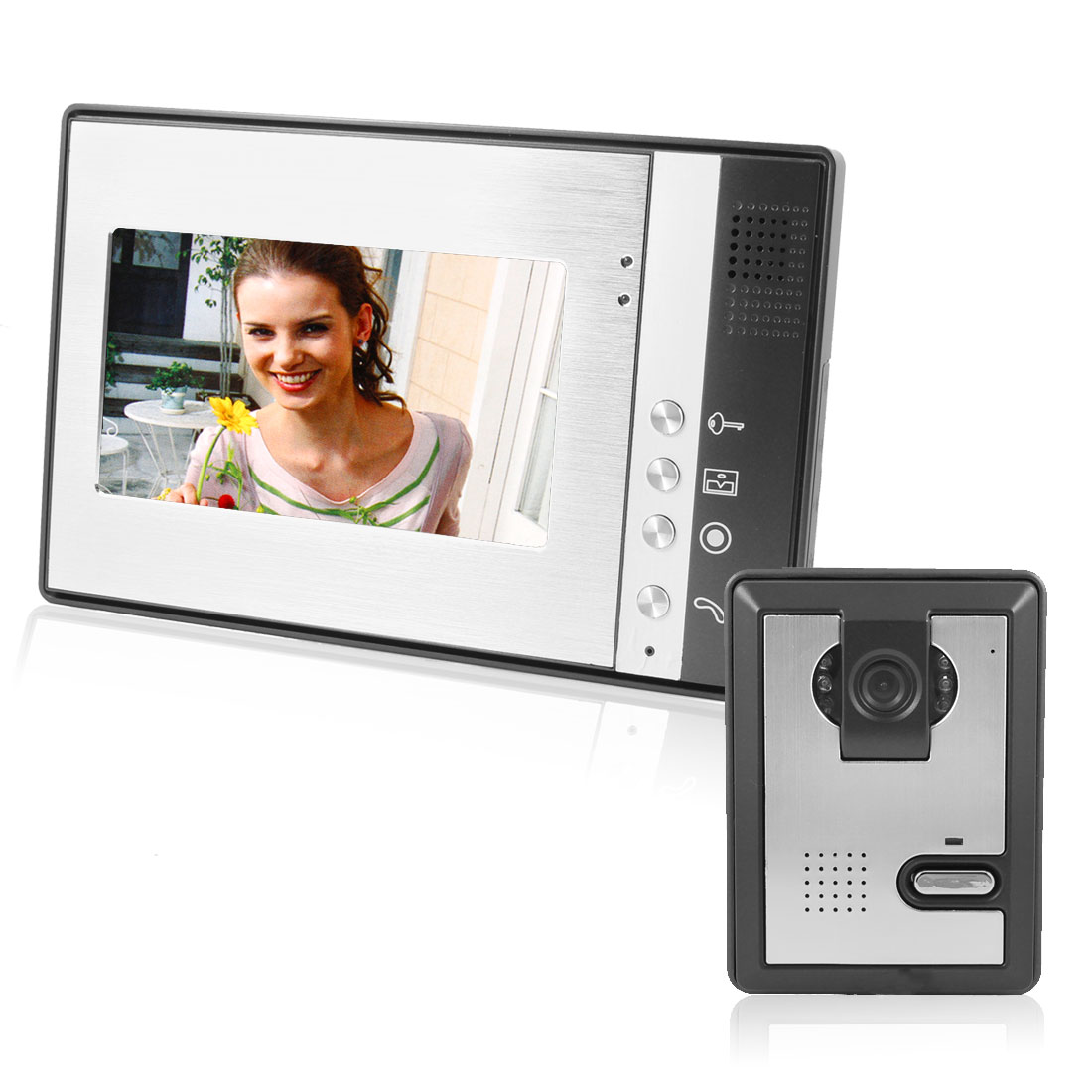 "US Plug 7"" TFT LCD Monitor Infrared Outdoor Intercom Color Video Door Phone Doorbell"