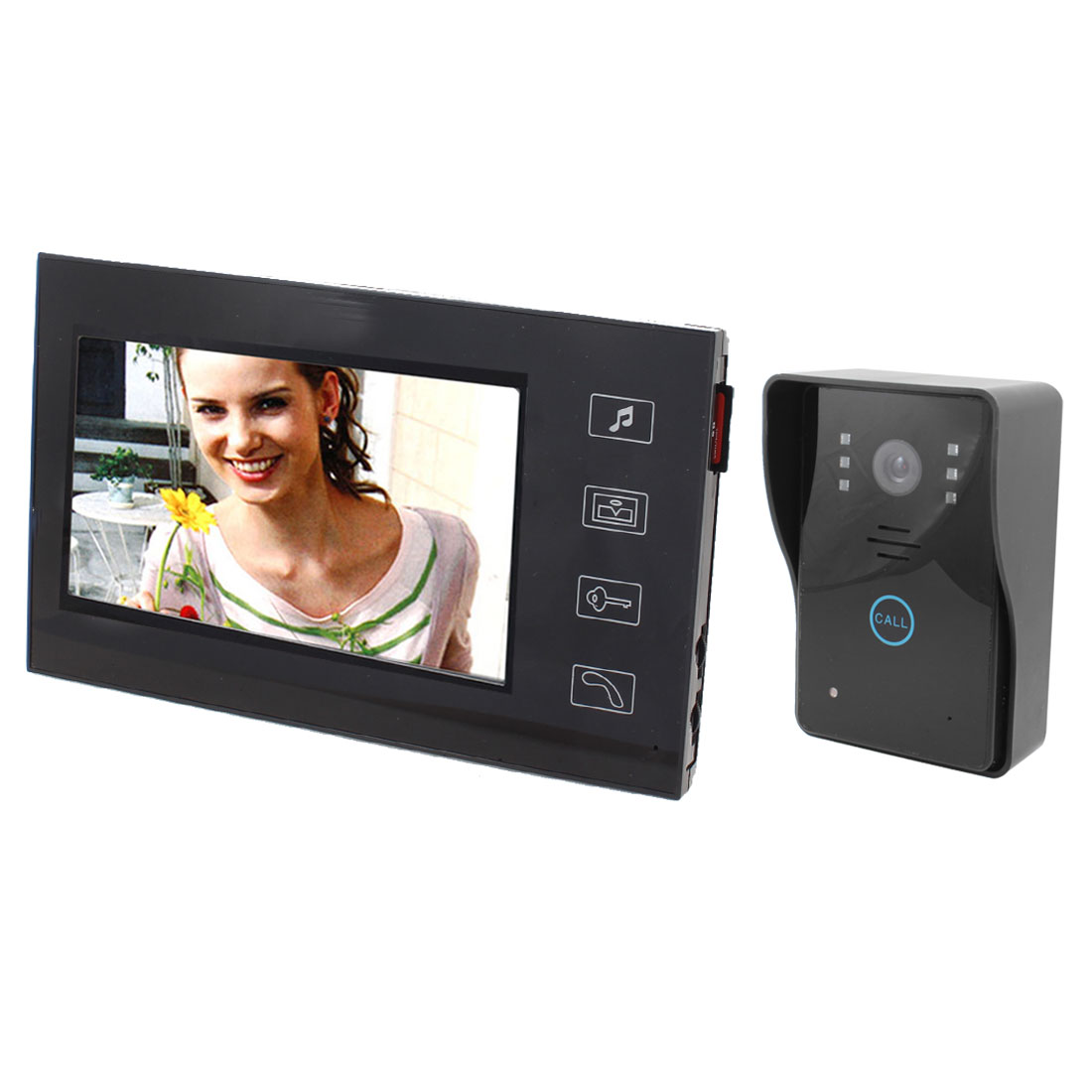 "US Plug 7"" TFT Touch Screen Handsfree Intercom Video Door Phone Camera Monitor"