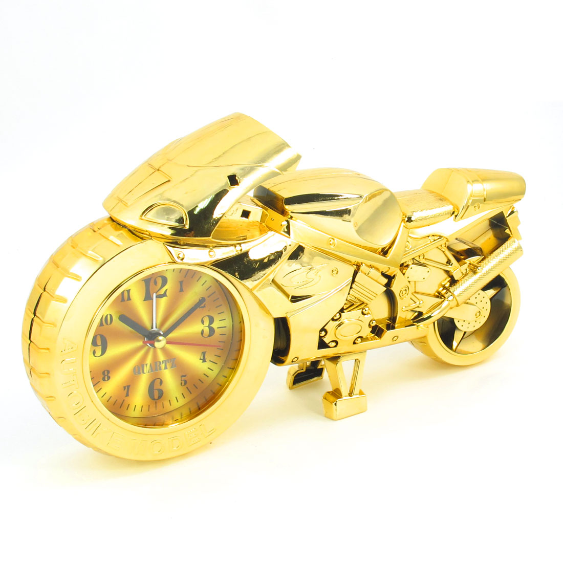 Home Bicycle Design Gold Tone Plastic Desktop Quartz Clock