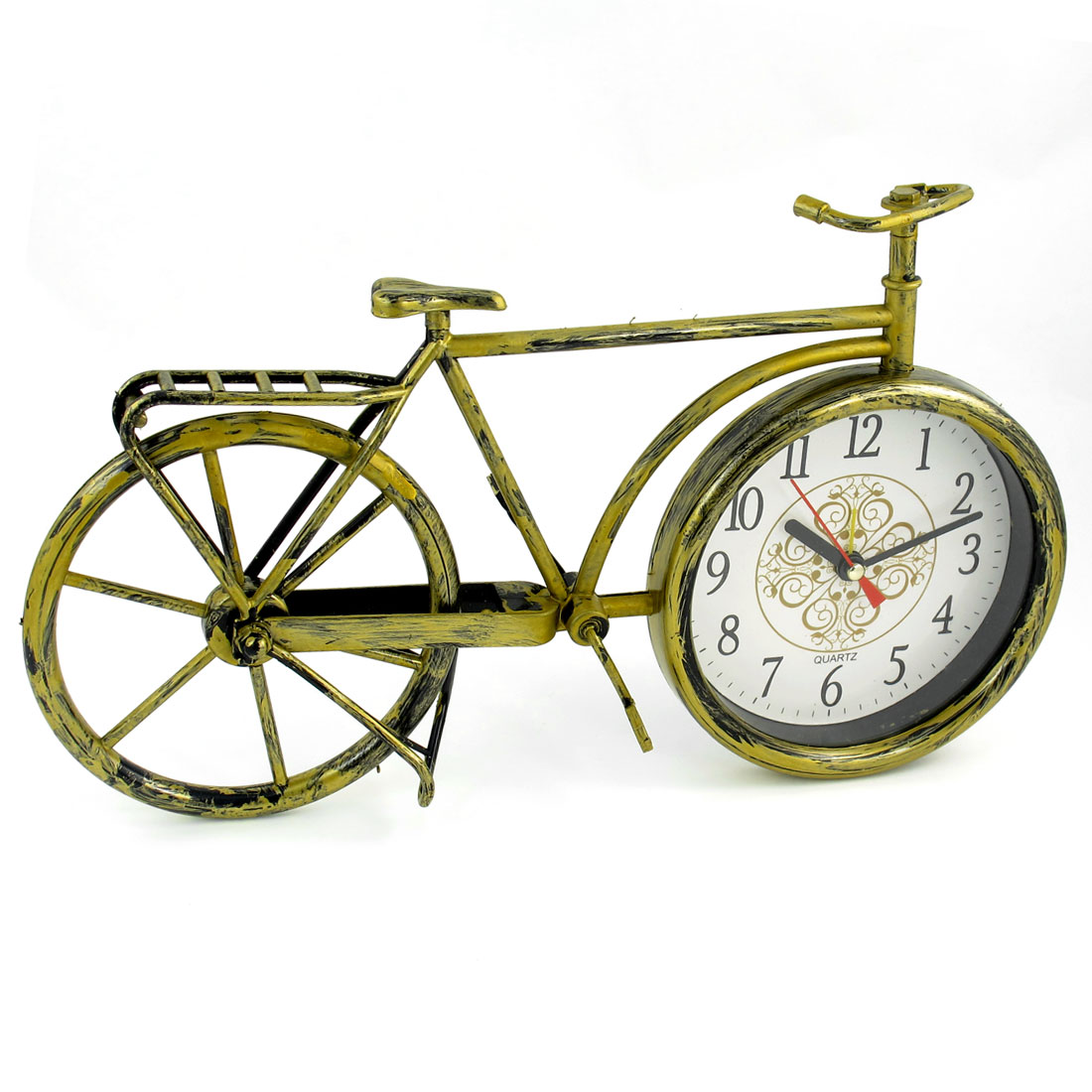 Home Bicycle Design Brozne Tone Plastic Desktop Quartz Clock
