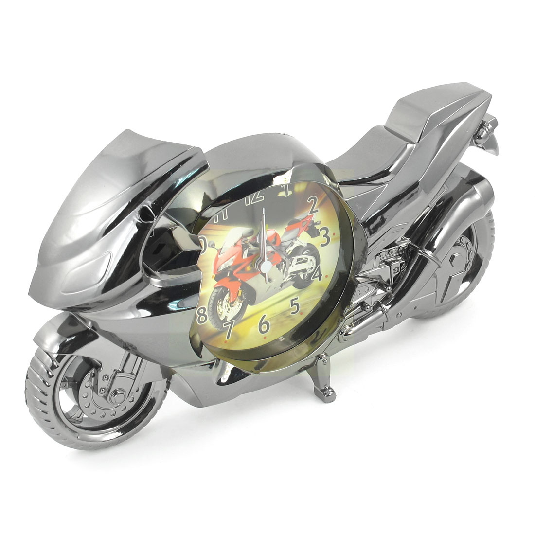 Motorcycle Design Dark Gray Plastic Arabic Numbers Quartz Clock
