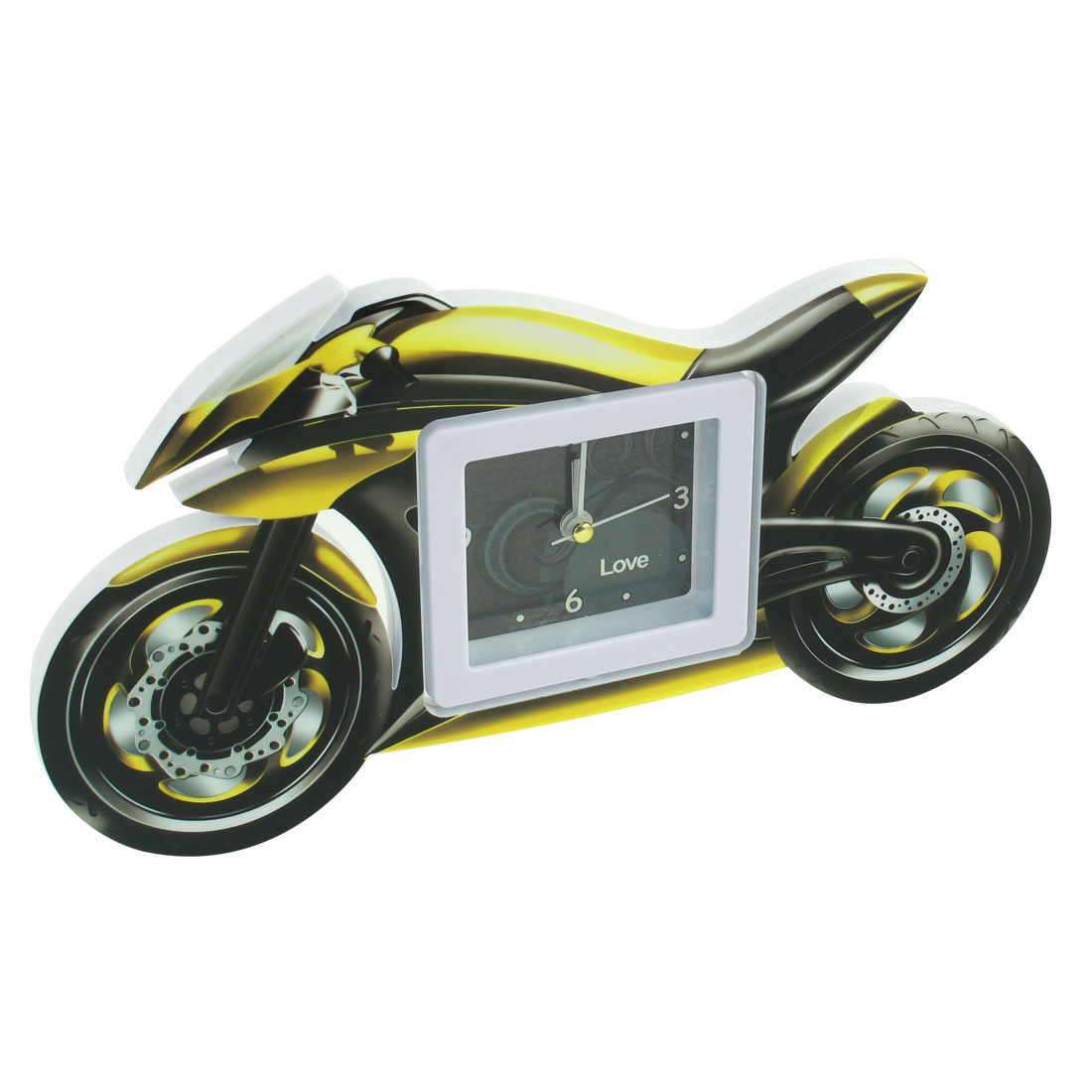 Home Motorcycle Design Black White Yellow Plastic Desktop Quartz Clock