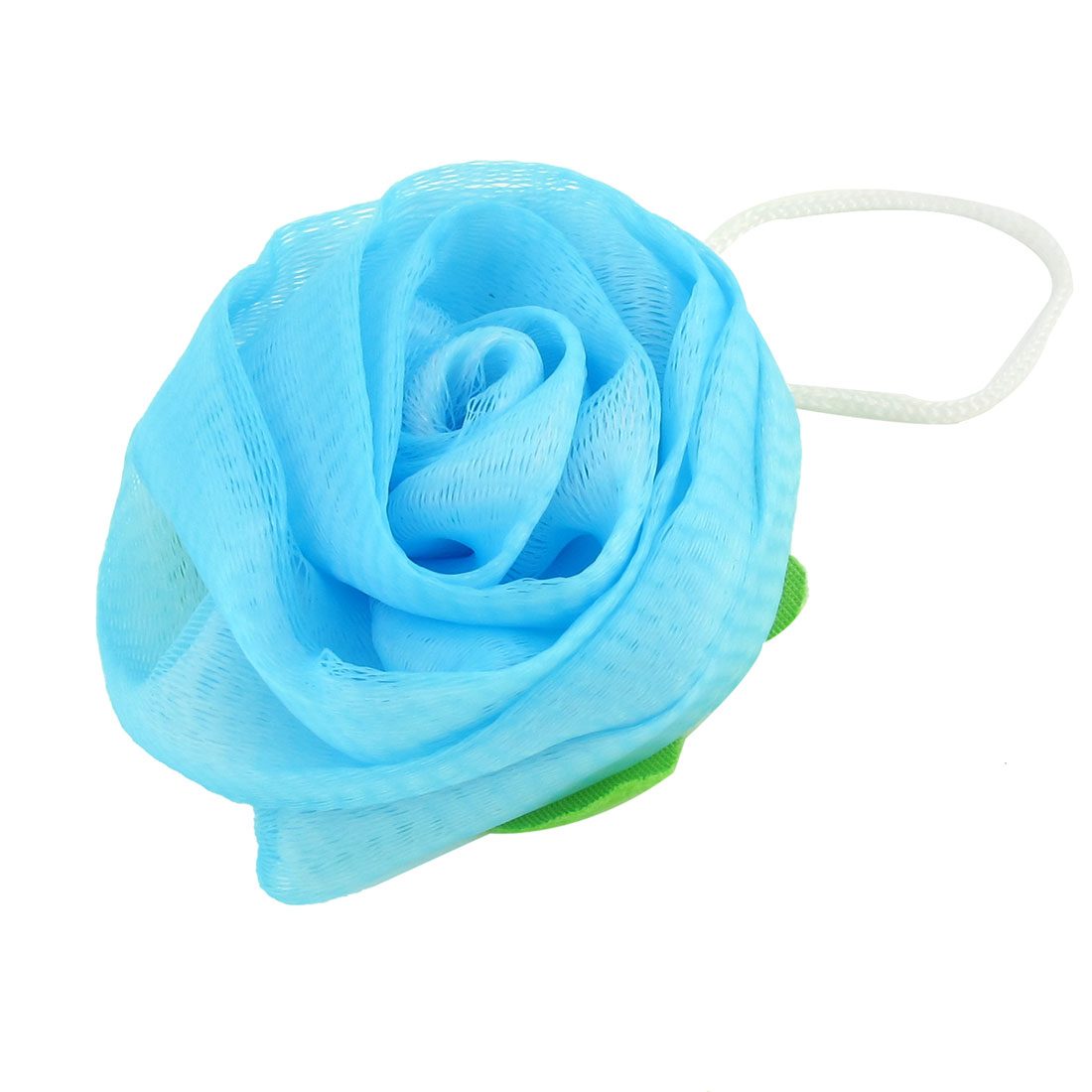 Bathroom Light Blue Rose Design Mesh Bath Sponge Shower Pouf
