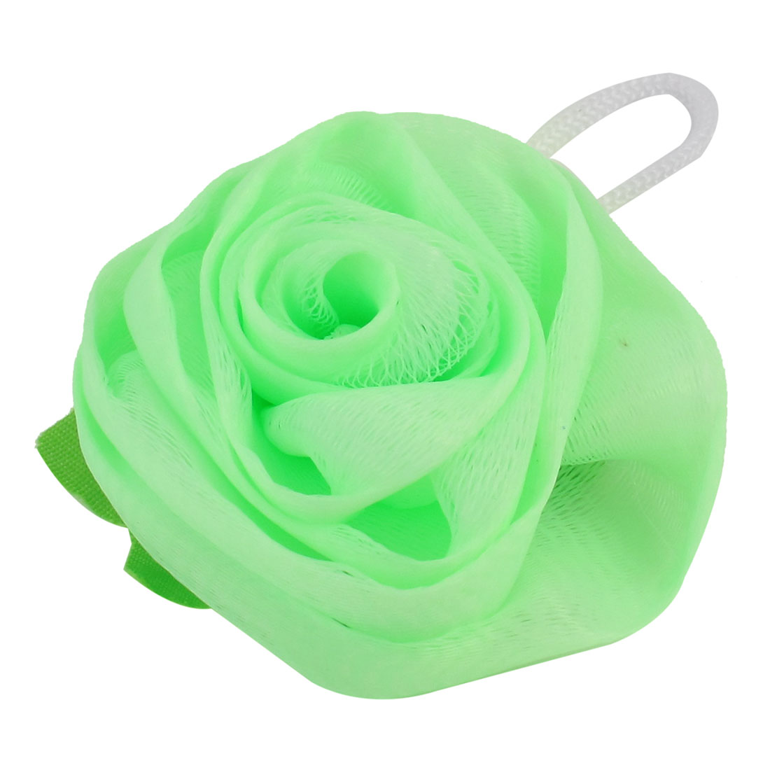 Bathroom Light Green Rose Design Mesh Bath Sponge Shower Pouf