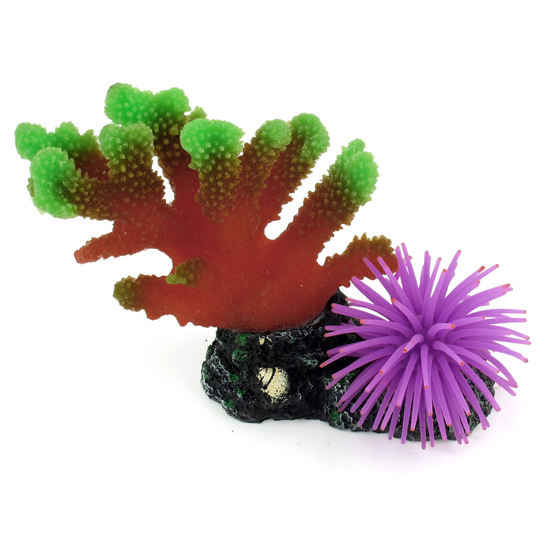 "5.5"" High Aquarium Green Purple Artificial Silicone Coral Anemone Ornament"