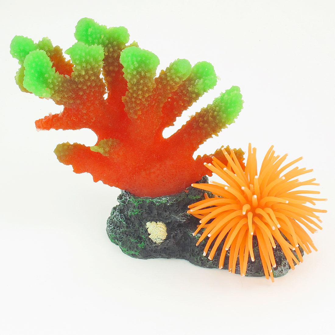 "5.3"" High Aquarium Red Orange Artificial Silicone Coral Ornament"