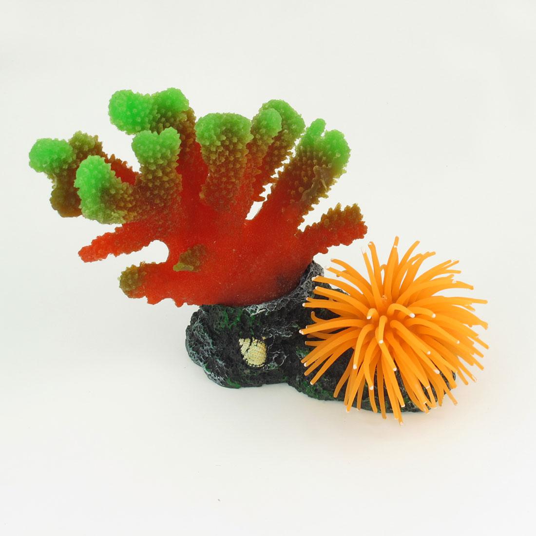 "5.5"" High Aquarium Red Orange Artificial Silicone Coral Anemone Ornament"
