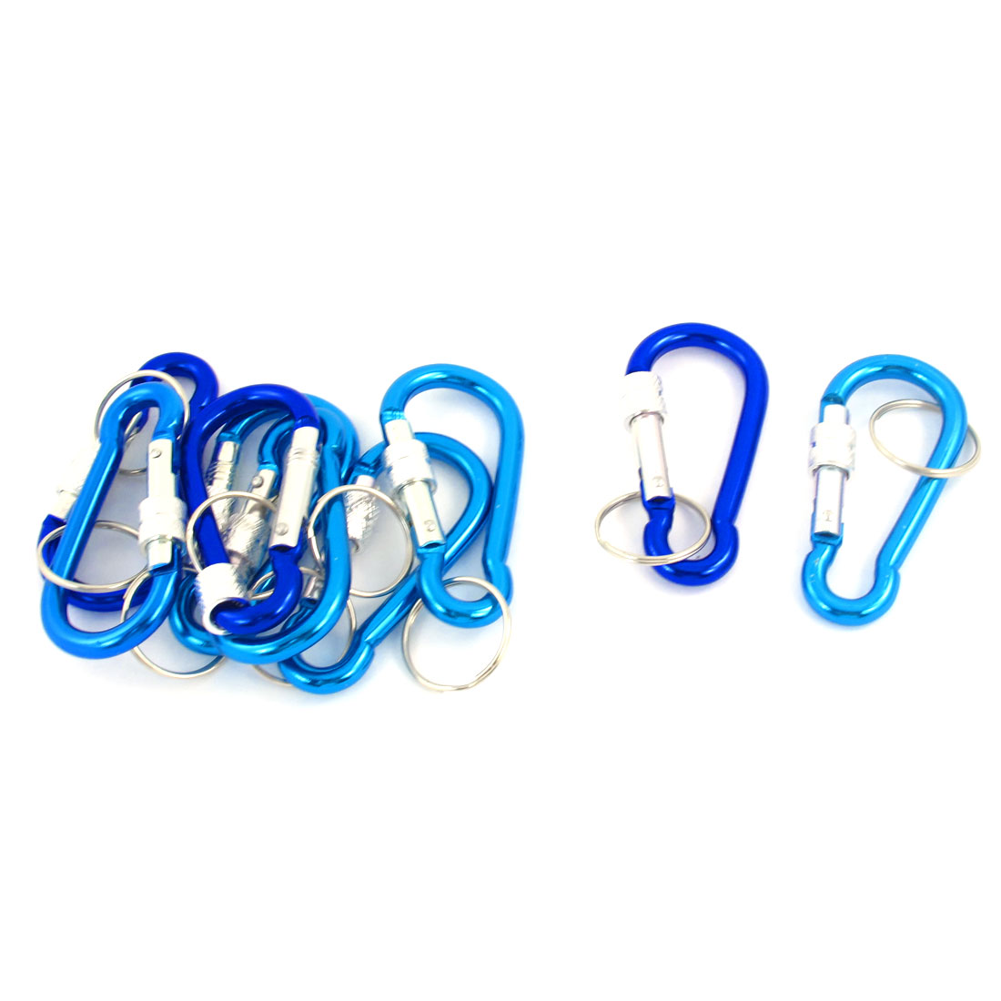 9 Pcs Travel Hiking D Shaped Aluminum Alloy Carabiner Hook Two Tone Blue