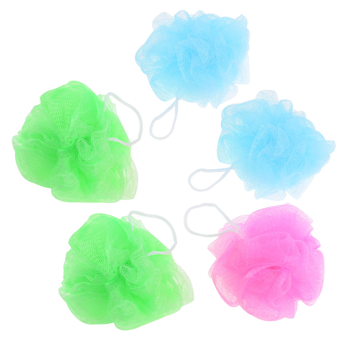 5 Pcs Bathroom Bubbles Puff Tri Color Meshy Nylon Bath Shower Pouf Body Scrubber