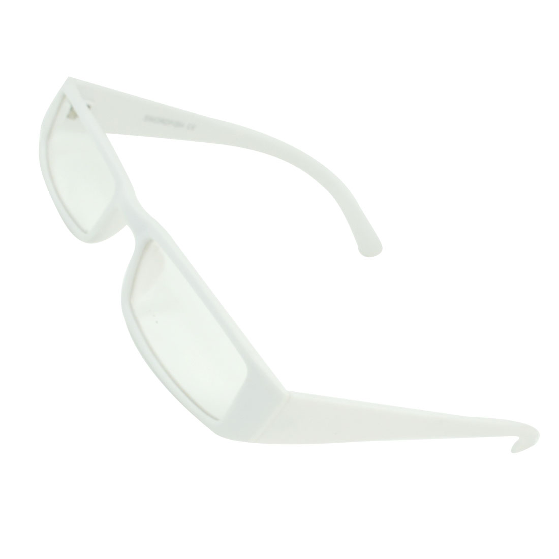 Lady Plastic White Arm Full Frame Rectangular Lens Plain Eyeglasses