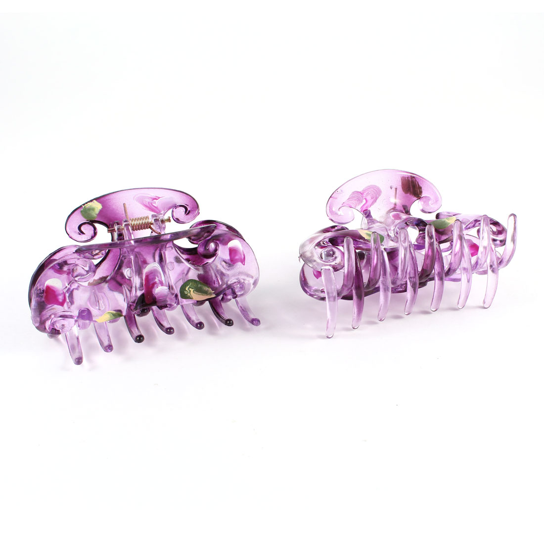 Pair Purple Petal Print Press Spring Plastic Hair Claw Clamp Hairclip for Women