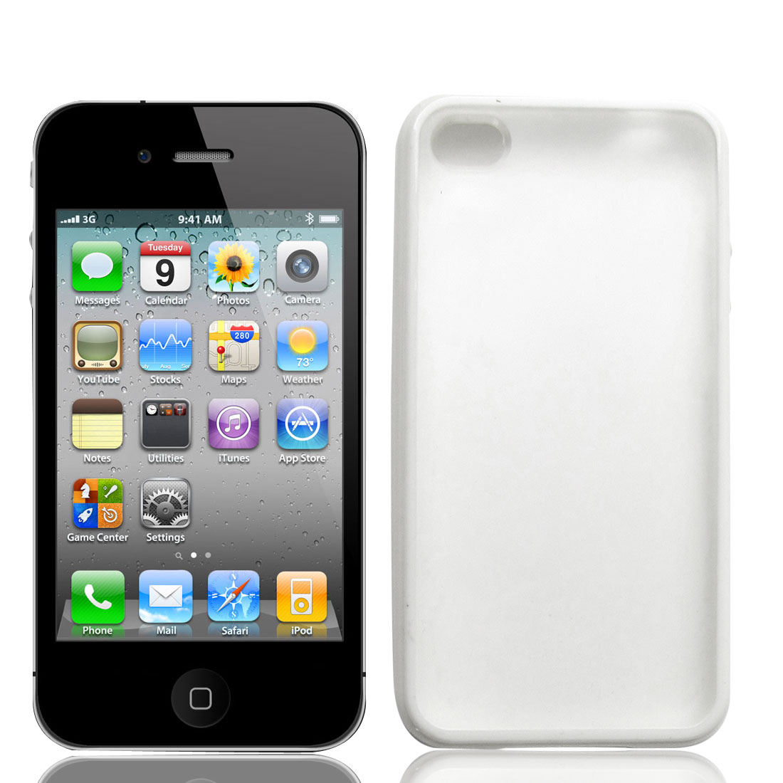 White Clear Anti Scratches Plastic Phone Case Cover for iPhone 4 4G 4S