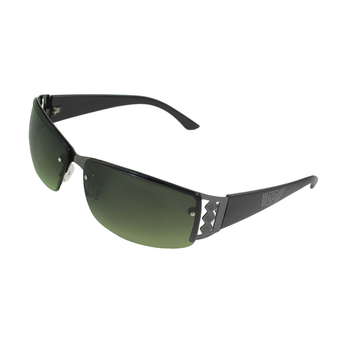 Lady Light Green Rectangle Colored Lens Black Plastic Arm Sunglasses