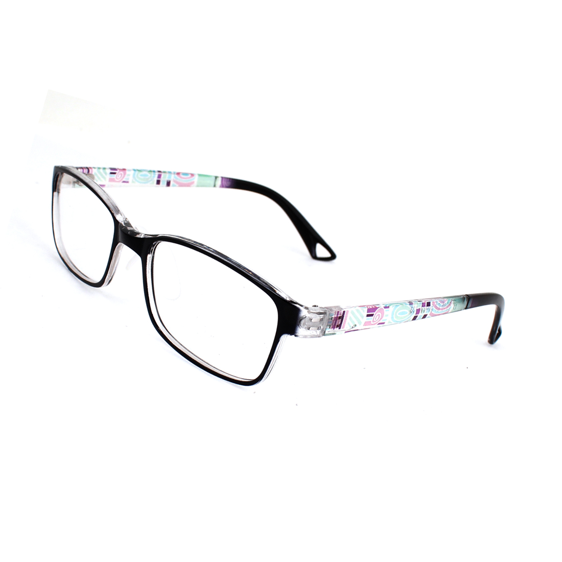 Women Black Full Rim Frame Single Bridge Plastic Clear Lens Glasses Spectacles
