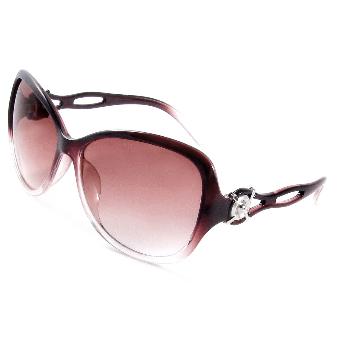 Outside Traveling Round Shaped Colored Lenses Plastic Arms Sunglasses for Lady