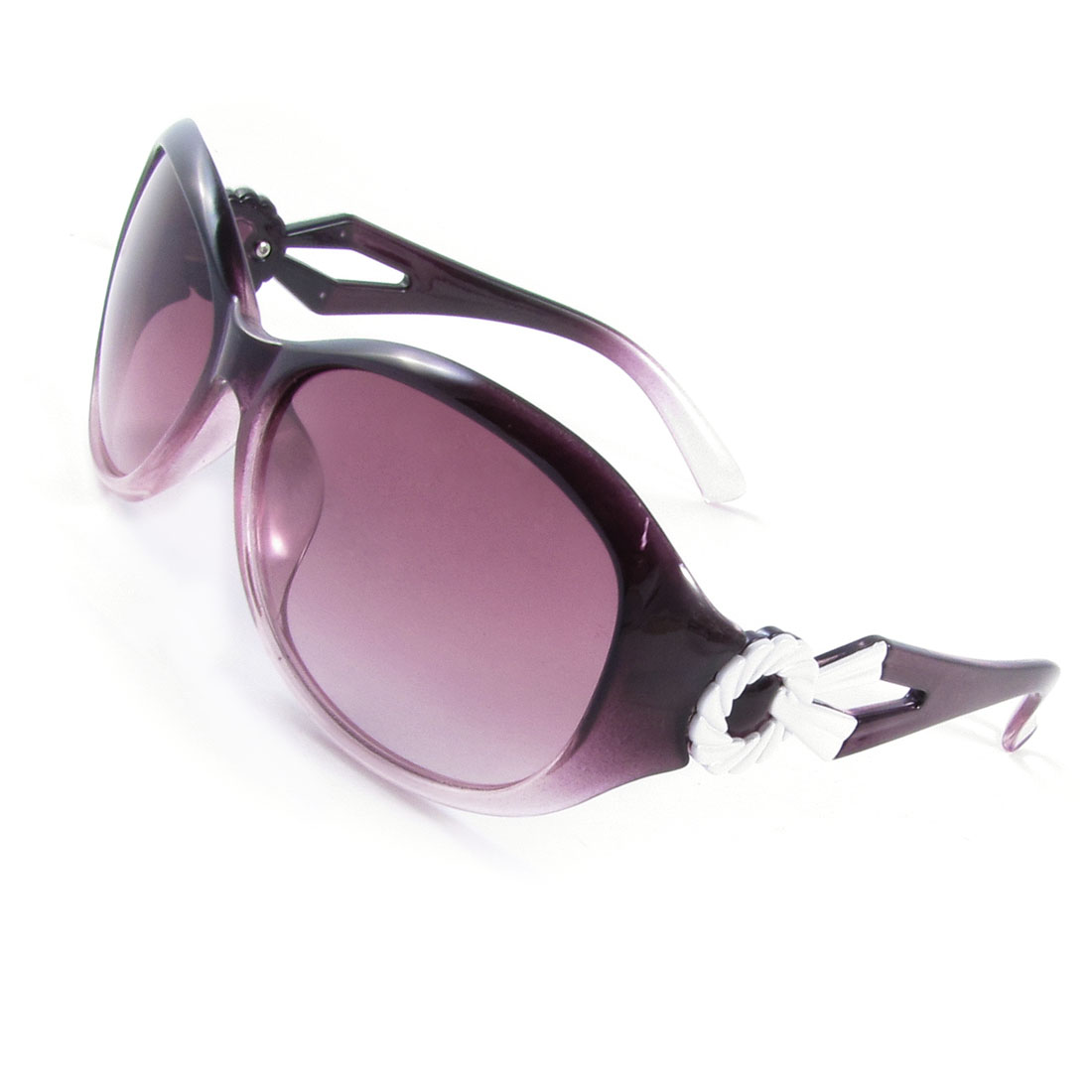 Women Camping Beach Round Colored Lens Single Bridge Sunglasses Dark Purple