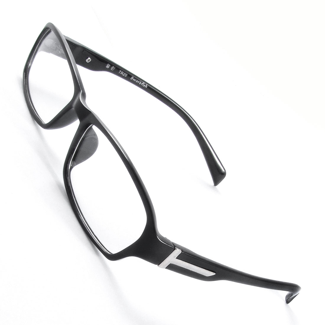 Man Black Full Rim Frame Rectangle Shaped Lens Plano Glasses Eyeglasses