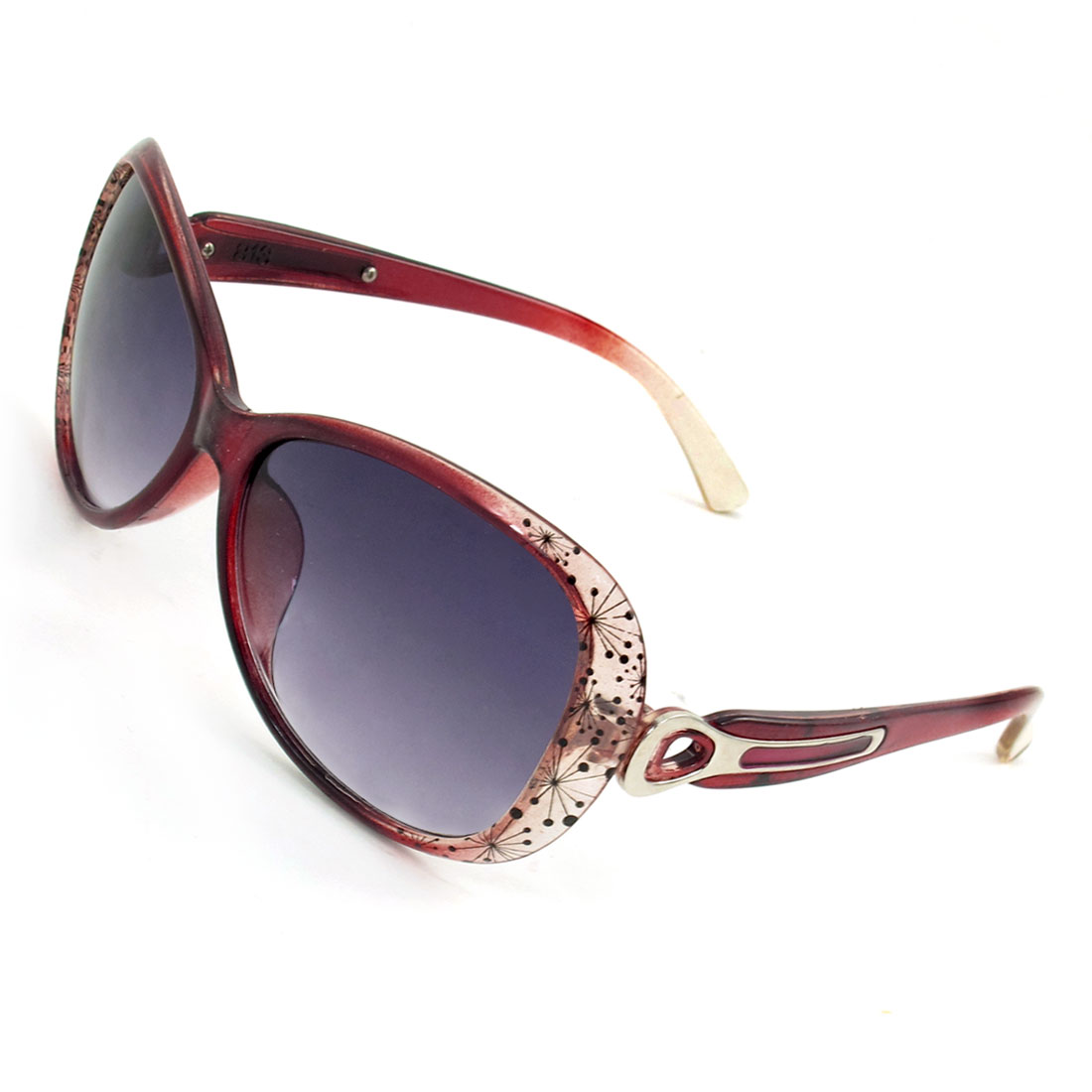 Woman Metallic Temples Burgundy Plastic Full Rim Sunglasses
